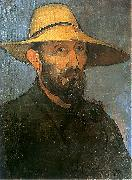 Wladyslaw slewinski Self-portrait in straw hat oil painting